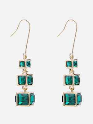 Temperament Simple Gradient Inlaid Crystal Three-dimensional Geometric Squares Retro Hipster Net Red Earrings Female