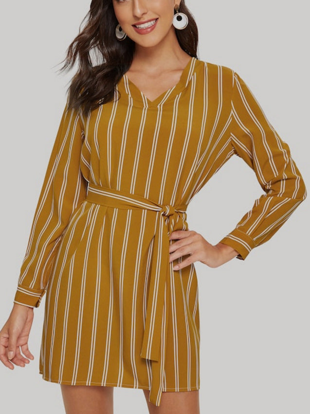 Lace-up Striped Long-sleeved Shirt Dress