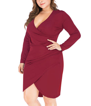 Sexy V-neck Long-sleeved Slim Maxi Dress