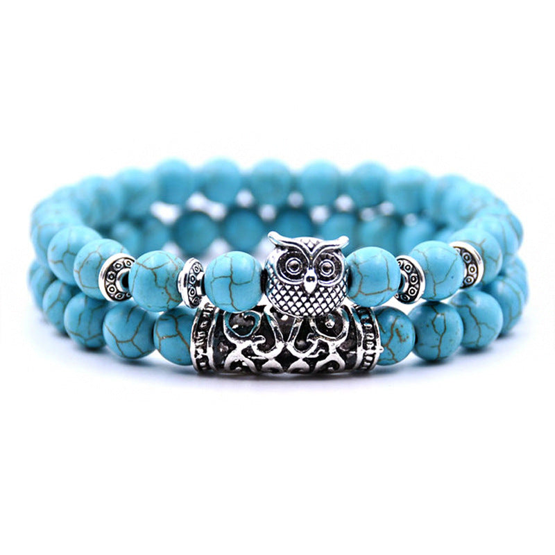 Natural Stone Owl Agate Bracelet Double Strip Elastic Rope Beaded Bracelet