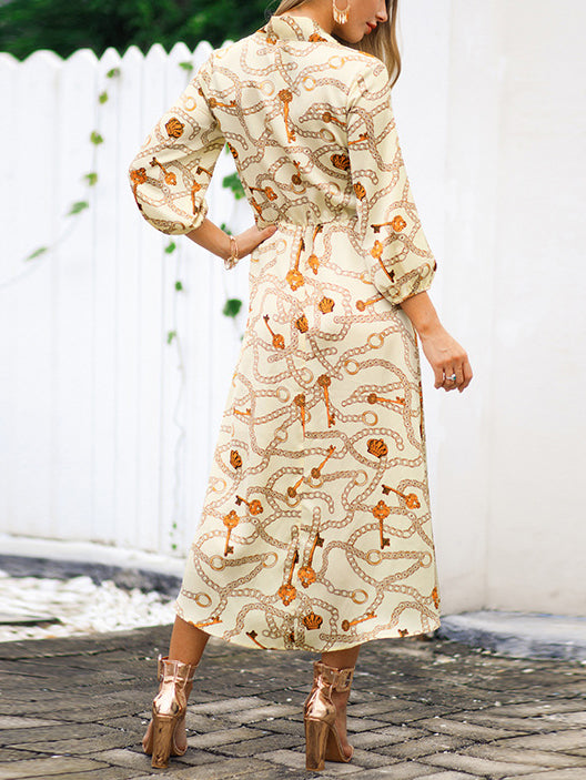 Chain Print Split Sexy Women Long Maxi Dress
