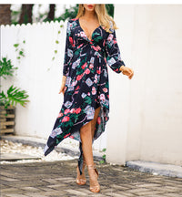 New Print V-neck Fashion Dress