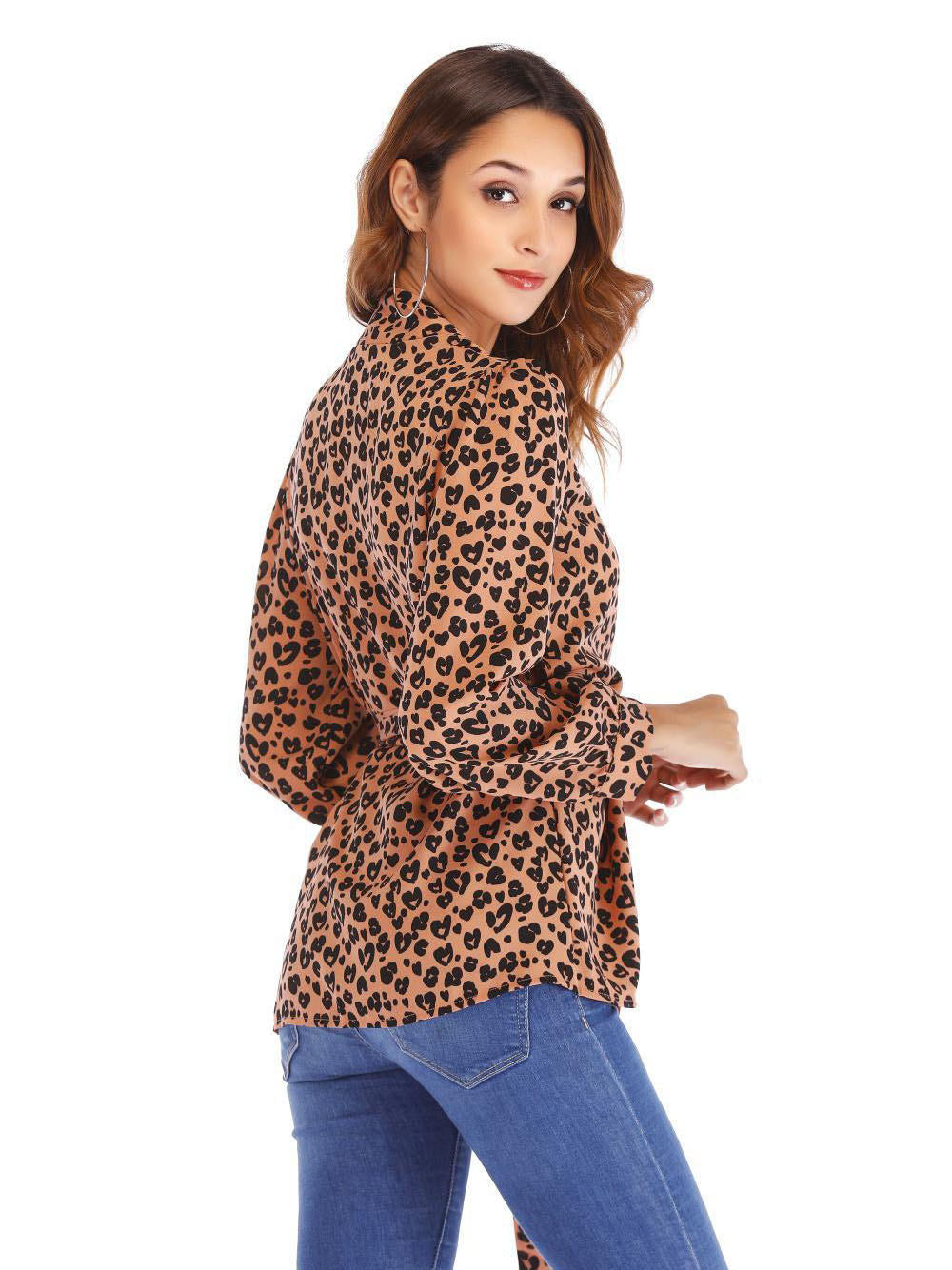 Women's Tops Fashion Lace V-neck Leopard Shirt Women