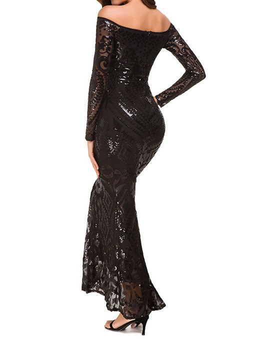 Temperament Sequined Lace Fishtail Dress Party Evening Dress