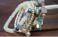 Beach Wind Multi-layer Bracelet Crystal Elastic Rope Square Turquoise Beaded Jewelry