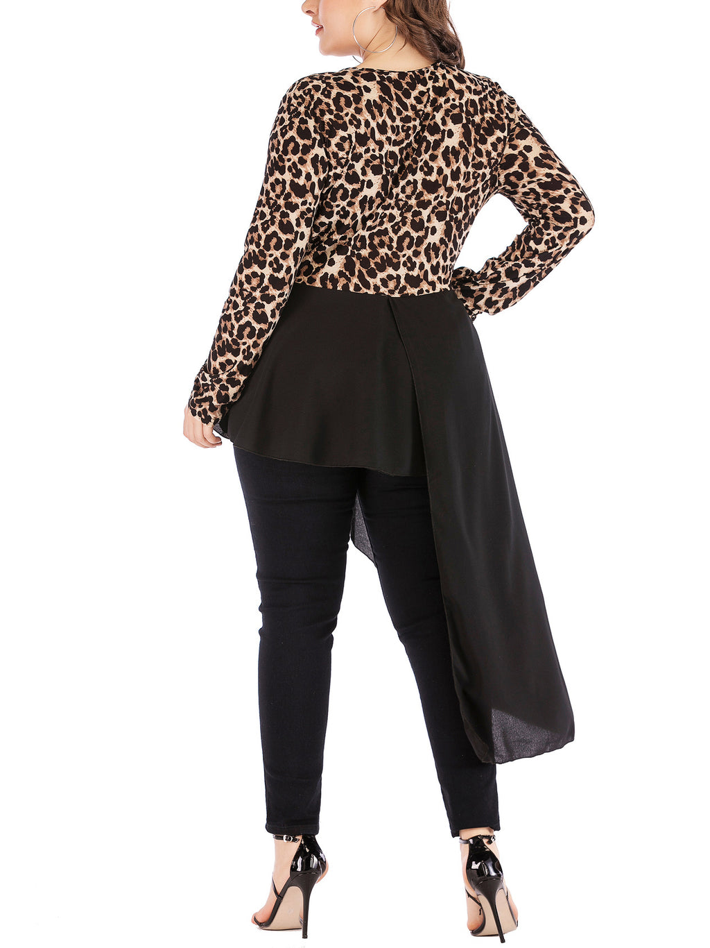 Plus Size Irregular Leopard Print Long Sleeve T-Shirt