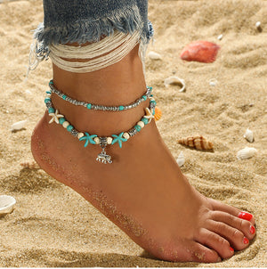 Conch Rice Beads Double-layer Anklet Wave Starfish Pearl Pendant