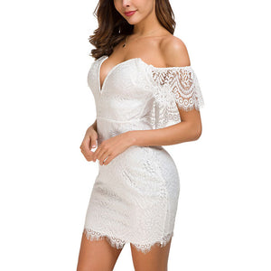 Fashion Sexy Nightclub Women's Slim Slimming Lace Dress Bag Hip Low Chest Skirt