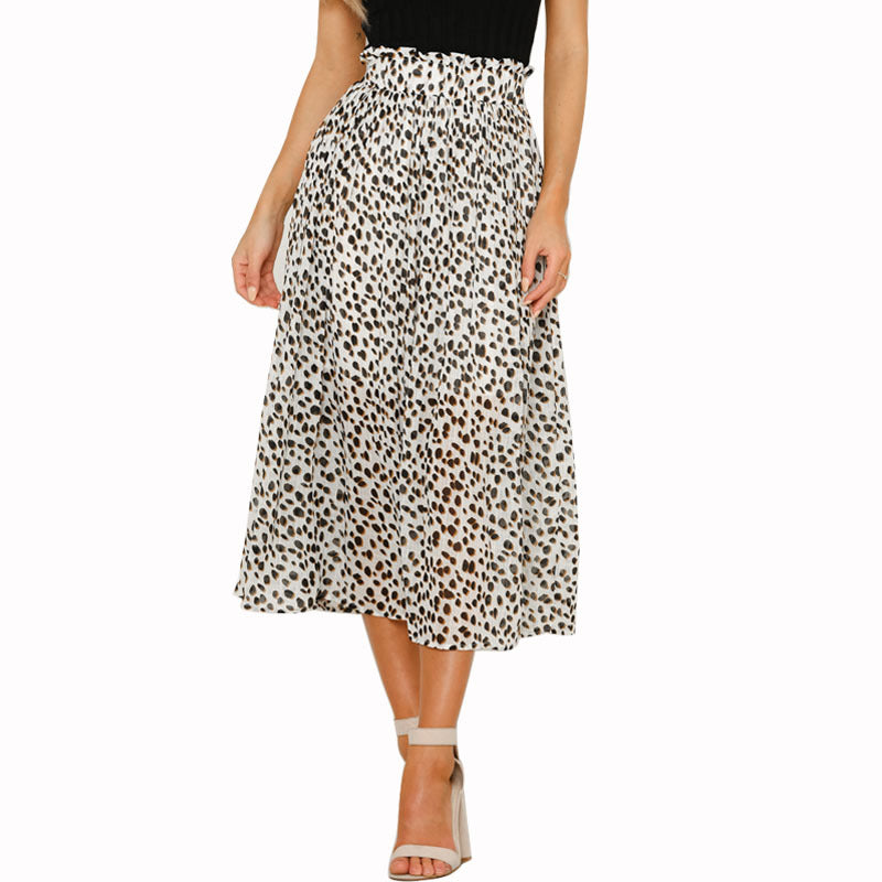 Fashion High Waist Wild Chiffon Floral Skirt