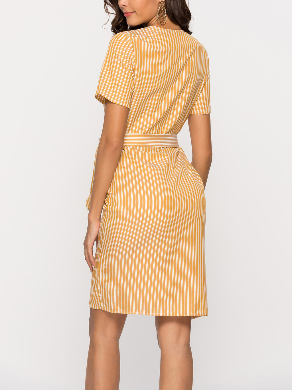 V-neck Short-sleeved Slim-fit Striped Dress