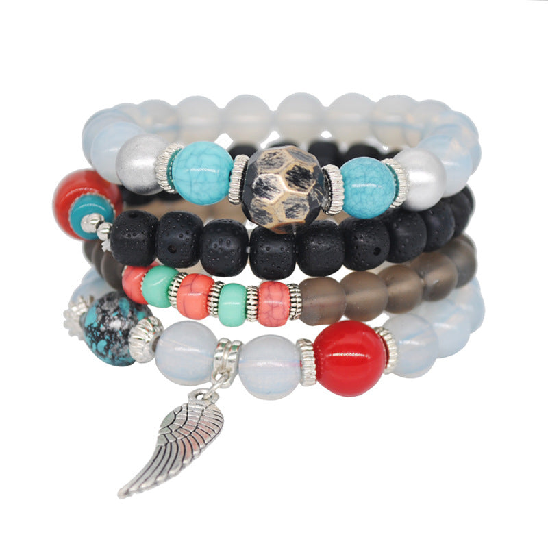 Angel Wing Bracelet Retro Beaded Multi-layered Star Moon Bodhi Bracelet