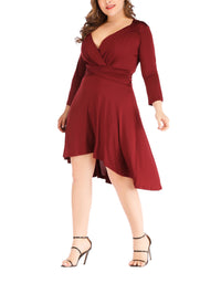Plus Size Sexy V-neck Waist Solid Color Irregular Dress