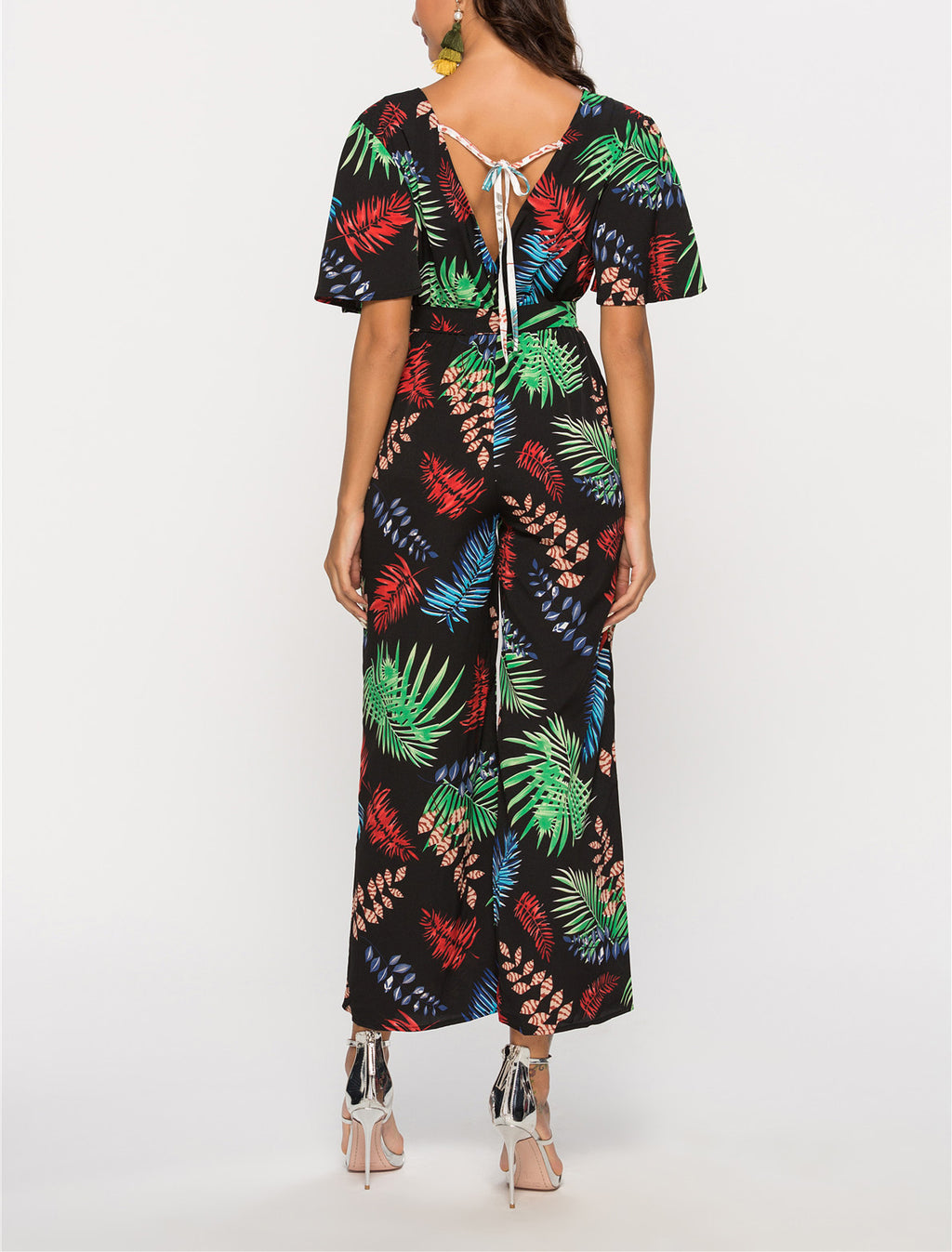 Printed Stitching V-neck Short-sleeved Halter Waisted Jumpsuit