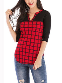 Buffalo Plaid Casual Fashion Cropped Sleeve Shirt Women