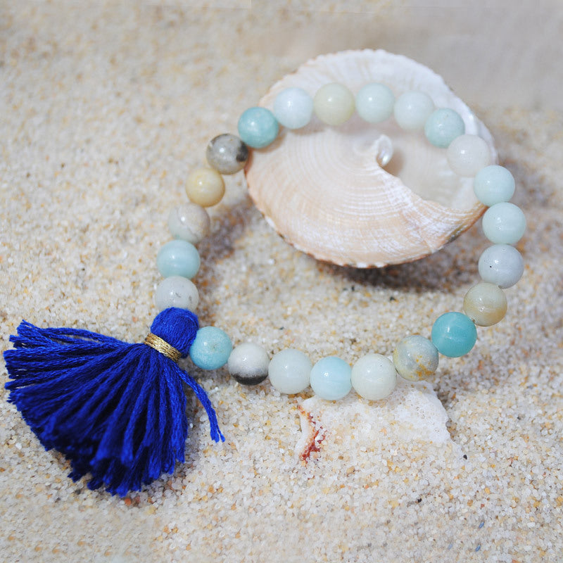 Original Design Color Natural Stone Bracelet Cotton Line Tassel Beach Sand Wind Elastic Rope Bracelet