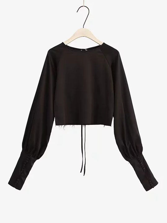 Spring Women's New Hem Women's Blouse Retro Court Wind Bubble Sleeve French Shirt