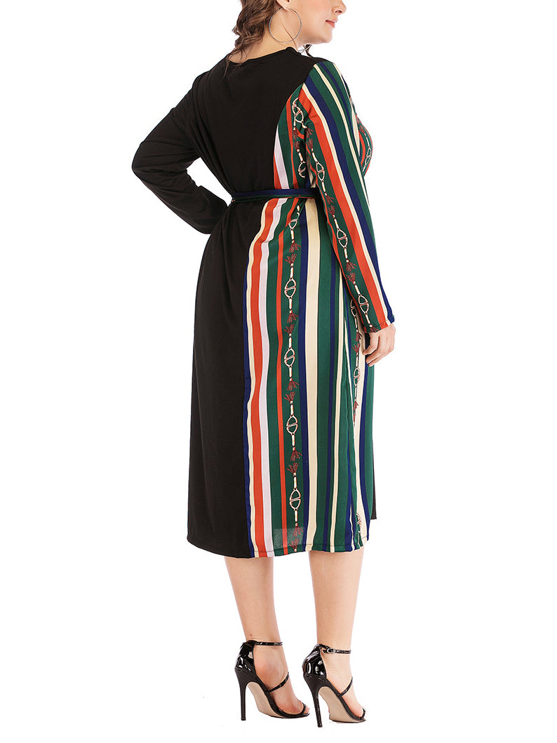 Plus Size Round Neck Long Sleeve Waist Striped Dress