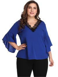 Large Size Lace Contrast Stitching V-neck Chiffon Shirt Top