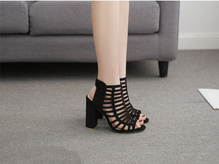 Heel Female Sandals Summer Open Toe Hollow High Heels Large Size