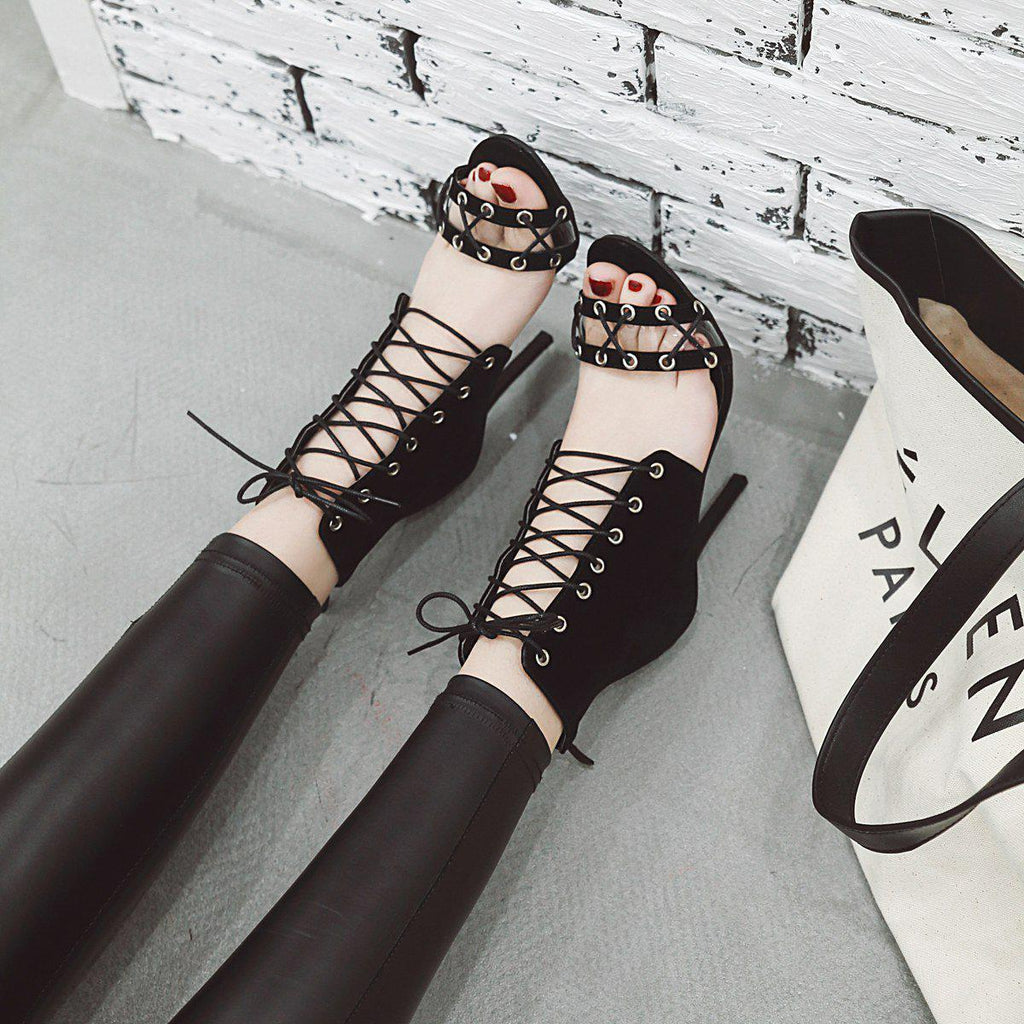 Roman Sandals Stiletto Straps Oversized Women's Shoes