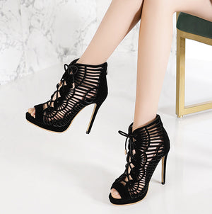 Elegant Hollow Sandals Matte Leather Platform Fine High Heel Large Size Women's Shoes