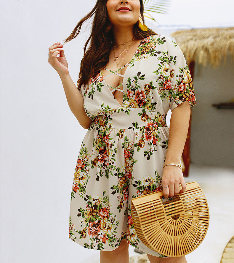 Best Selling Explosion-print Short-sleeved Jumpsuit