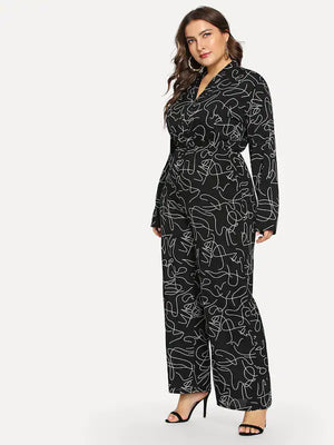 Large Size Women's Collar Long Sleeve Jumpsuit Fat Sister Printed Slim Bodysuit