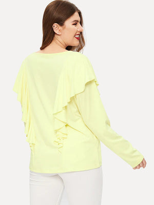 Large Size Women's Ruffled Long-sleeved T-shirt Round Neck Knit Top