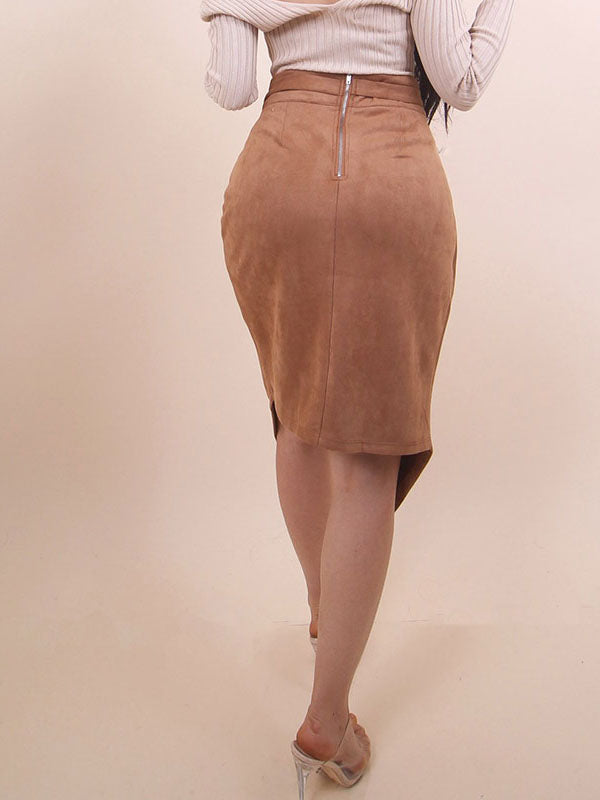 Deer Velvet Hip Skirt Solid Color Irregular Lace Skirt