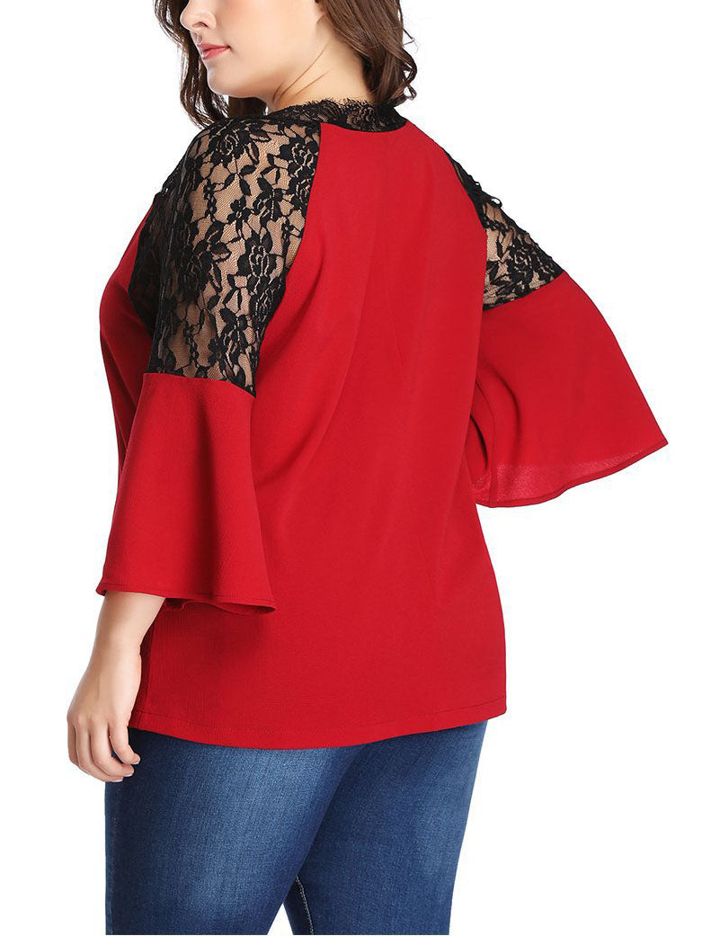 Large Size Lace Contrast Stitching Chiffon Shirt Top