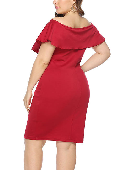 Large Size Word Collar Ruffled Slim Dress