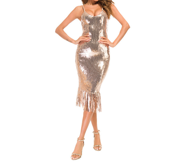 Nightclub Sequins Sexy Deep V-neck Halter Strap Dress