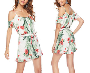 Strap One-shoulder Printed Holiday Jumpsuit