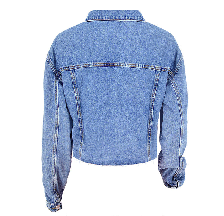 Loose Women's Street Short Cropped Denim Jacket