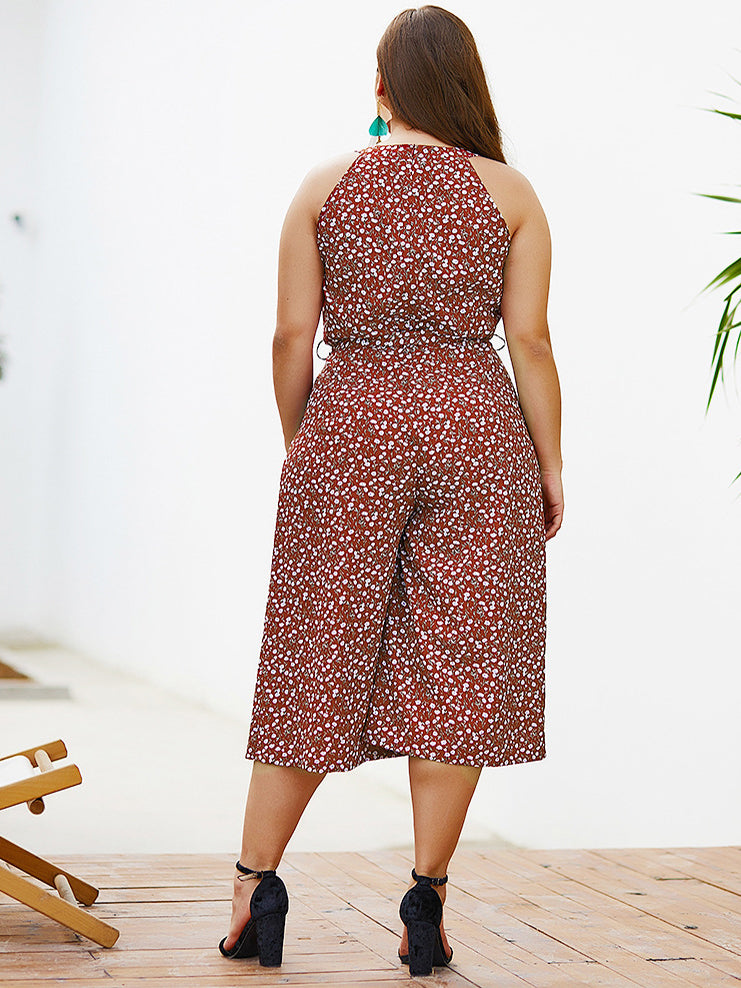 Polka-dot Elegant Women's Large Size Jumpsuit