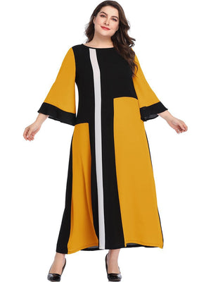 Large Size Women's Geometric Mosaic Color Matching Color Dress