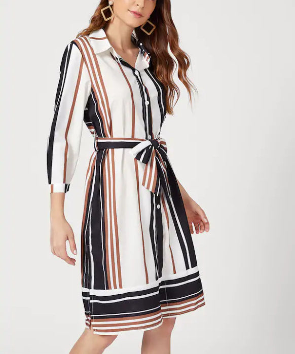 Colorful Striped Cropped Sleeves Shirt Collar Dress
