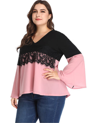 Large Size Women's Stitching Contrast Color Lace Top