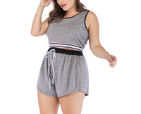 Large Size Women's Striped Casual Vest Sports Suit