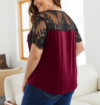 Summer New Lace Stitching Large Size T-shirt