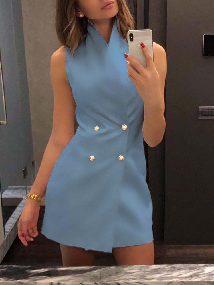 Women's Slim Suit Vest Double-breasted High-neck Sleeveless Solid Color Suit Vest