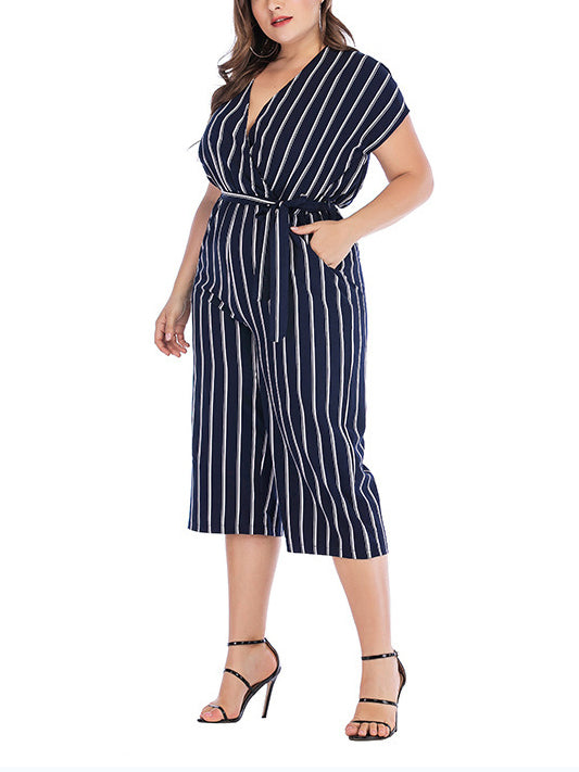 Short Sleeve V-neck Striped Plus Size Jumpsuit