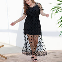 Loose Large Size Women's Sling Short Skirt Polka Dot Mesh Short Sleeves Waist Split Long Skirt Two-piece