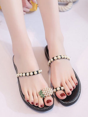 Women's Sandals and Slippers Summer Set of Toe Pineapple Pearl Decoration Low-heeled Flat-bottom Light Lady Wearing