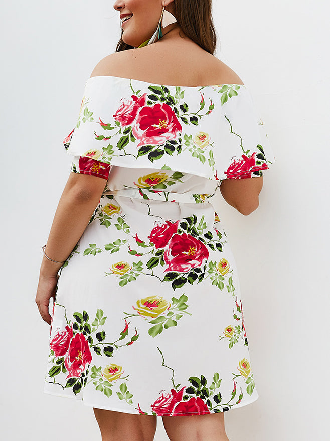 Printed Off-the-shoulder Large Size Dress