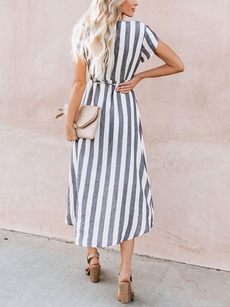 V-neck Tie Striped Irregular Dress