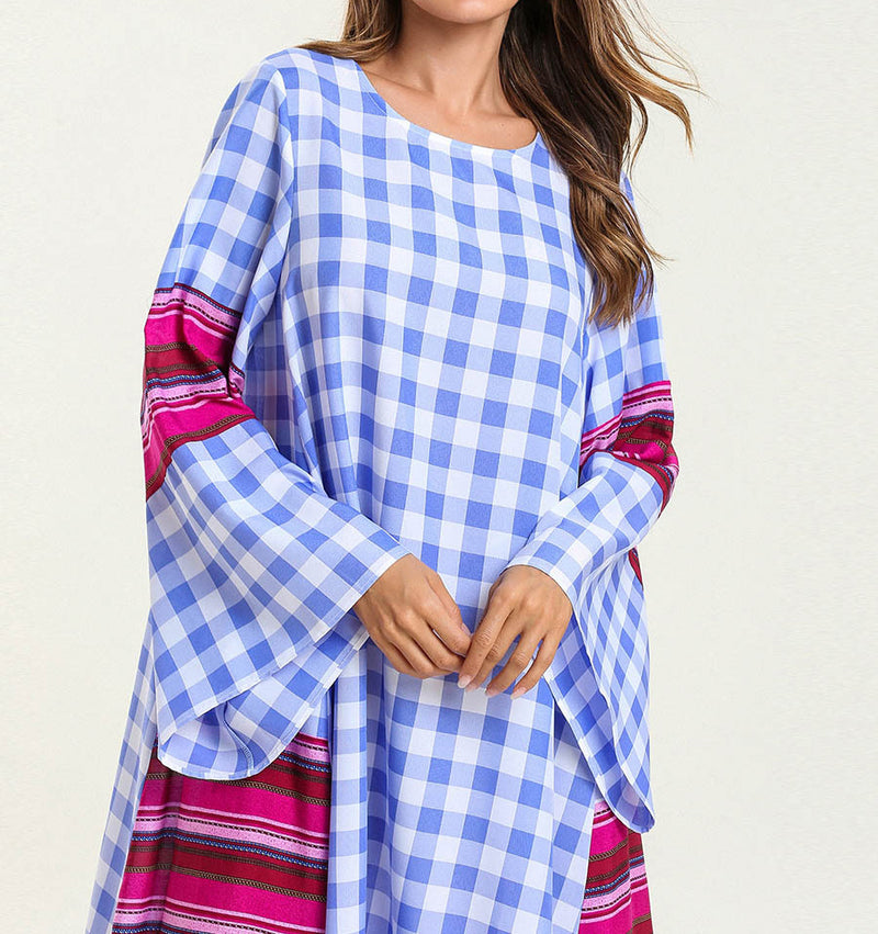 Fashion Printed Plaid Casual Dress