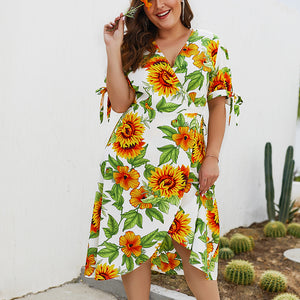 Summer New Print Short-sleeved Large Size Dress