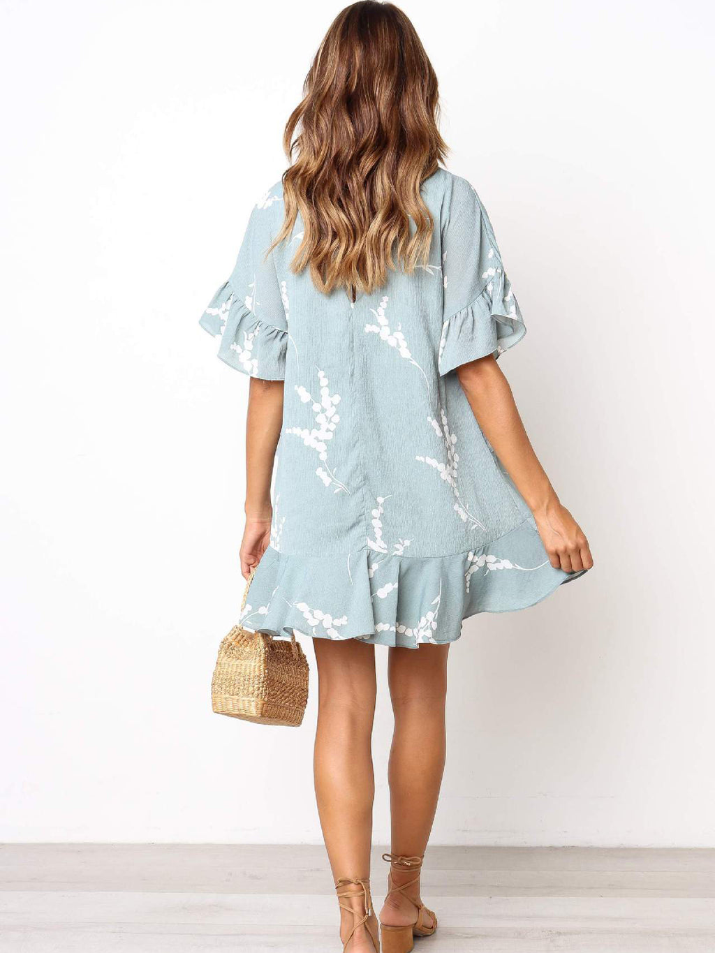Printed V-neck Ruffled Loose Sweet Dress