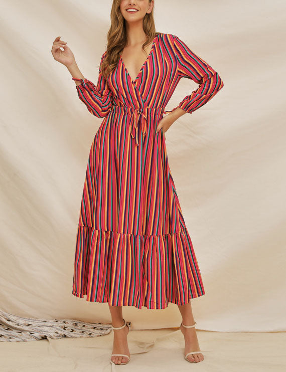 New Long-sleeved Rainbow Stripe Print V-neck Lace-up Dress
